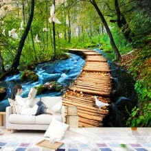 -3D Wall Murals Wallpaper Chinese Natural Landscape Wooden Bridge Forest Bedding Room Sofa Backdrop Customized Photo Wallpapers on JD