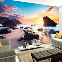 -Custom Mural Wallpaper Sunset Sea View Sunny Beach Stone 3D Photo Background Wall Papers Home Decor Living Room Wall Painting on JD