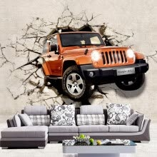 -Custom 3D Photo Wallpaper Brown Car Broken Wall Out Wall Mural For Children Kids' Room Sofa Backdrop Wall Paper Wallcoverings on JD