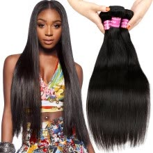 -Virgin Peruvian Hair Straight Extension 3 Bundles Brazilian Malaysian Indian Remy 8A Hair Weave Weft Unprocessed Dyeable on JD