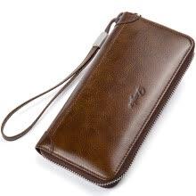 DANJUE Men Wallet Genuine Leather Male Purse Long Phone Bag Natural Cowhide Clutch Bag Trendy Fashion Card Holder Man Hand Bag