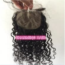 -Brazilian Water Wave Hair Silk Base Closure 100% Human Remy Hair Closure 4''x4'' Natural Black Color 8-20 inch on JD