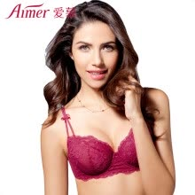 -Aimer Aimer bra 3/4 cup sexy bud silk mesh eyes slim models gather ladies underwear AM13DF1 wine red B70 on JD