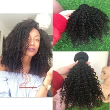 -Brazilian Kinky Curly Hair Weave 3Bundles Afro Kinky Curly Hair double wefted Human Hair Extensions For Woman on JD