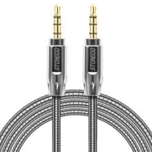 -STONEGO 3.5mm Auxiliary Audio Cable Male to Male Stereo AUX Cable Zinc Alloy Polished Metal Connectors Stainless steel Cord on JD
