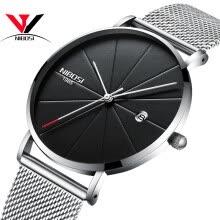 3a6a768b2b83 Reloj de pulsera de cuarzo de los hombres ultra delgados Banda de malla Reloj  de correa de cuero simple de la manera NIBOSI 2018 Relojes de pulsera de  lujo ...