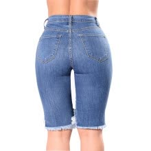 269e5dce272fa Summer Fashion Womens Denim Pants Ripped Hole Jeans Stretch Knee Length  Jeans Sexy Torn Femme Skinny Body Jeans