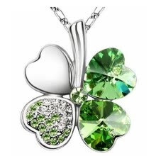 -Women Vintage Fashion Jewelry Heart Crystal from Austrian Four Leaf Clover Necklace Pendants Trendy 201 on JD