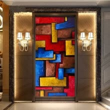 -3D photo wallpaper European oil painting colorful abstract geometric background wallpaper mural on JD