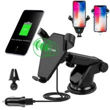 chargers-docks-Qi Wireless Car Charger Pad Cellphone Holder Mount Bracket 360° Mount For Samsung S8 S7 S6 Note8/5 iPhone X 8 Plus on JD