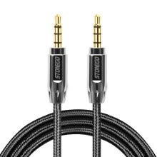 -STONEGO 3.5mm Auxiliary Audio Cable Male to Male Stereo AUX Cable Zinc Alloy Polished Metal Connectors Nylon Braided Cord on JD