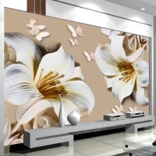 -3D Stereo Relief Lily Flowers Photo Mural Wallpaper Modern Simple Bedroom Living Room TV Sofa Backdrop Wall Painting Home Decor on JD