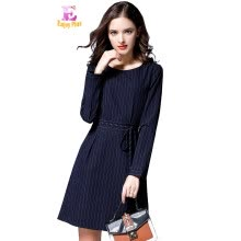 L XL XXL 3XL 4XL 5XL plus size office new fall 2017 dress women long sleeve big  size blue striped belt elegant knee length lady 99b198113a68