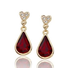 -Yoursfs® 18K Rose Gold Plated Simulated Ruby Earrings Use Red Austrian Crystal Fashion Jewelry on JD
