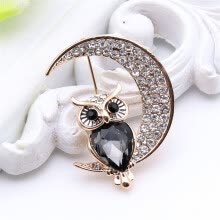 -New Arrived Ladies Animal Rhinestone Twilight Brooch Owl Moon Broches Brooches Lapel Pin Jewelry Women Banquet Festival Gift on JD