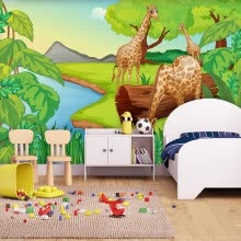 -Custom 3D Photo Wallpaper Cartoon Forest Giraffe Children's Room Bedroom Non-woven Fabric Background Decor Mural Wall Painting on JD