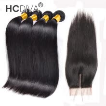 -Indian Straight Hair With Closure 4 Bundles India Virgin Hair Straight Bundles With Closure 7a Grade Raw Human Hair Weave HCDIVA on JD