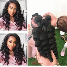-Brazilian Hair Weave Bundles 100% Human Hair Loose Wave extensions Human Hair Products 3pcs lot on JD