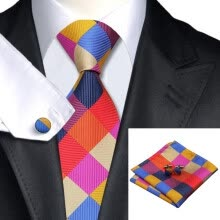 -N-0216 Vogue Men Silk Tie Set Plaids&Check Necktie Handkerchief Cufflinks Set Ties For Men Formal Wedding Business wholesale on JD