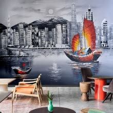 wall-stickers-murals-Abstract European metropolitan town night landscape oil painting TV backdrop wall decoration wallpaper mural on JD
