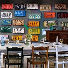 -Vintage license plate photo wallpaper TV restaurant living room decoration background wall custom mural on JD