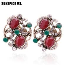 -SUNSPICE MS Turkish Vintage Resin Stud Earrings For Women Bridal Jewelry Antique Gold Color Round Crystal Indian Festival Bijoux on JD