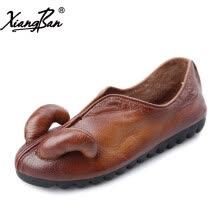 875061444-Xiangban women shoes flat casual slip on shoes breathable genuine leather soft rubber sole shoes personality on JD