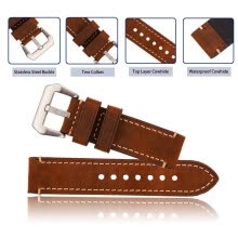 -Brown Watch Band 20mm 22mm 24mm Mens Genuine Leather Replacement strap Stainless Steel Buckle on JD