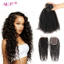 -Alot 100% Remy Hair Extension Kinkly Curly With Closure Indian Virgin Hair 3 Bundles With Closure Weave Free Shipping on JD