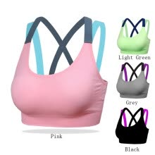 8750510-Women Yoga Push Up Sports Bra Gym Running Padded Tank Top Shockproof Strappy Vest on JD