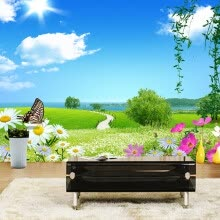 -Custom 3D Photo Wall Paper Blue Sky White Clouds Butterfly Natural Landscape Wall Art Mural Home Wallpaper Flower Decoration on JD