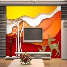 -Custom 3d mural 3D stereo color tree TV background wall decorative painting living room bedroom wallpaper mural on JD