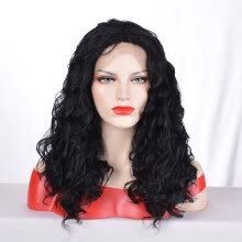 -QianBaiHui Long Loose Curly Synthetic Lace Front Wigs Black Color Hair for Fashion Women on JD