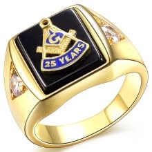 statement-rings-Hot Selling Natural Onyx 18k Gold Plated Masonic Memorial religious Party ring Size 7 8 9 10 11 12 13 14 15 on JD