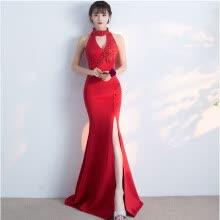 Handmade Elegant Sleeveless Evening Dresses with Beading Sequined Bodice  Long Prom Dress Party Gowns e1ceb19cd043