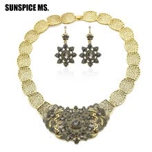 -SUNSPICE MS. Vintage Rhinestone Dangle Earring Flower Necklace Indian Jewelry Sets Antique Bronze Turkish Bridal Valentines Gift on JD