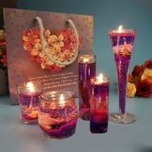 candles-holders-Gong Xun Valentine's Day Jelly Candle Gift European Creative Smokeless Aroma Romantic Christmas Marriage Birthday White Candlelight Dinner Gift Arrangement Gift Decoration Purple Ocean Suit on JD