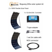 -BOGUANG Waterproof 200W Solar panel System 2pcs 100W  PV Flexible 12V solar panel 20A solar controller cable for DIY RV Boat Kits on JD