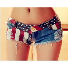 leggings-Qian Xu European style womens denim shorts retro high waist shut jeans shorts street wear sexy summer spring fall on JD