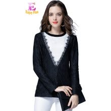 f6ee0fedf24 L XL XXL 3XL 4XL 5XL plus size lace elegant new winter 2017 blouse women  long sleeve big size black and white shirt slim OL lady