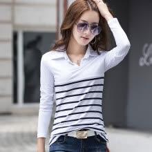 92a207de8a6 2018 Весна и осень дамы лацкане поло рубашка футболки полосатые хлопка с  длинными рукавами рубашки