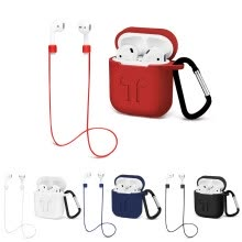 875061539-For AirPods Case Protective Silicone Cover and Earphone Sports Anti-lost Strap for Apple AirPods Charging Case Keychain on JD