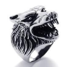 -Hpolw Vintage fashion individuality Biker Black Wolf Head Teeth silver Stainless Steel Men's Ring Wedding/Engagement Rings on JD