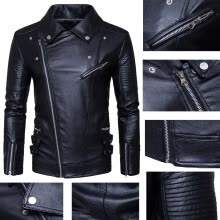 -US Size:S~XXXL 2018 High Quality New Men's Fashion Leather Jacket Punk Style Men's Jacket Multi Zipper Motorcycle Clothing on JD