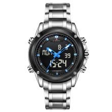 -NAVIFORCE 9050 Men luxury Brand Full Steel Quartz Clock Digital LED Male Sport Watch on JD