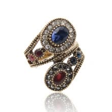 statement-rings-New antique Turkish Ring Retro Gold Color Rhinestone Hollow Out Double Floral Winding Rings Women Classical Beauty Jewelry Gift on JD