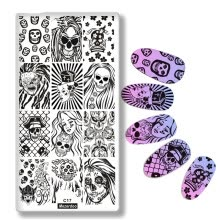 -1Pc Halloween Series Celebration Nail Stamping Plate Cute Skull Pattern DIY Nail Art Image Stamp Stamper Manicure Template C17 on JD
