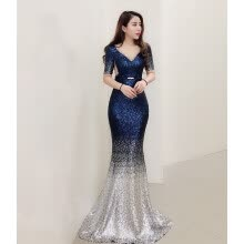 962ba4411 Evening dress female new celebrity banquet party birthday party dress was  thin host dress long section