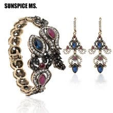 -Factory Price Turkish Women Vintage Flower Resin Bangle Drop Earrings Antique Gold Color Long Dangle Earring Bracelet Cuff Sets on JD