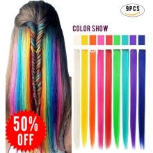 2bb33bd66c994 Rhyme 9PCS Wig Pieces For America Girls and Dolls Clip In On Colored Hair  Extensions(Rainbow Color)